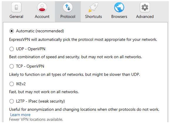 الصورة 10: البروتوكولات الأمنية المتاحة في ExpressVPN