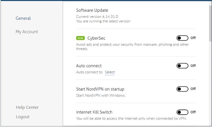 صورة: تشغيل أو إلغاء مفتاح الإيقاف التلقائي لـ NordVPN